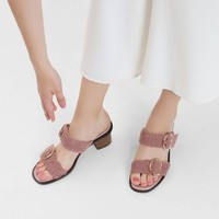 Pink Double Strap Mules | CHARLES & KEITH
