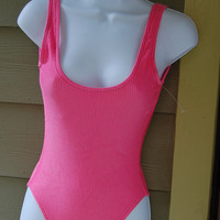 Vintage 80s Neon Pink Shiny Ribbed Low Cut High Cut Tank Style One Piece Bathing Suit Swimsuit Size XS/Small