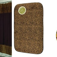 Sheena Leopard Shower Curtain, Bath Mat, And Hook Set
