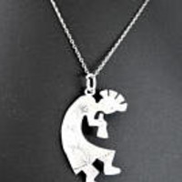 Native American Necklace,  Sterling Kokopelli, Sterling Pendant Flute Player, Southwestern Pendant