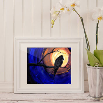 Midnight Raven Original Acrylic Painting Crow Blackbird Art Goth Home Decor Art Mystic Halloween Full Moon Sunset Sedona Spiritual Native