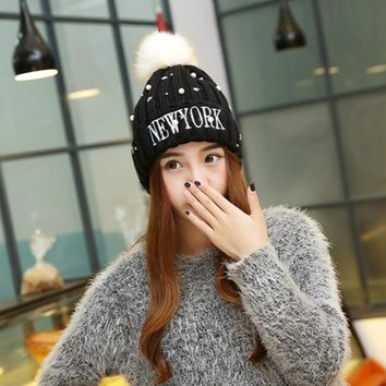 BONJEAN Women's Winter Beanies Cap Beading Star Pearl NEW YORK Knitted Ball Caps Embroidery Bonnet Lladies Knit Hats for Women