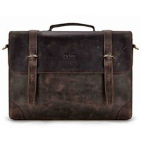 "ZLYC Men Vintage Retro HANDMADE Leather Bussiness Briefcase 15"" Laptop Messenger Shoulder Bag Satchel Coffee"