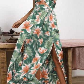 Never Let You Go Floral Pattern Sleeveless Spaghetti Strap Backless Halter V Neck Casual Maxi Dress