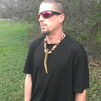 Men's Antler Necklace -Men's Bone Necklace - Horn Necklace - Pagan Raccoon Bone Jewelry - Tribal Leather Necklace - Shaman Warrior Necklace