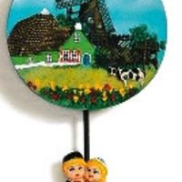 Dutch Gift Novelty Magnet Windmill & Cow