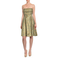 Cynthia Rowley Women's Gold/ Teal Brocade Print Silk Strapless Dress