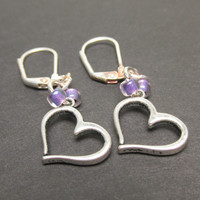 Heart Earrings, Handmade Drop Earrings, Pierced Ears, Purple Beads, Gifts for Her