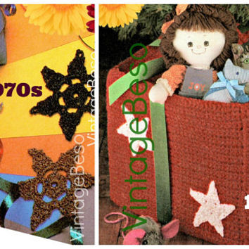 Gift Box and Stars Crochet Pattern • 4 different star patterns • Pillow • 1970s Vintage Patterns • Digital Instant Download • PDF Pattern