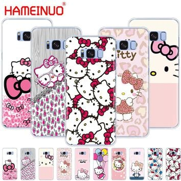 HAMEINUO  Fashionable Hello Kitty cell phone case cover for Samsung Galaxy S9 S7 edge PLUS S8 S6 S5 S4 S3 MINI