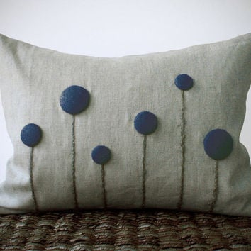 Navy Blue Billy Ball Flower Pillow in Natural Linen by JillianReneDecor Craspedia Billy Button Spring Home Decor Gift for Her