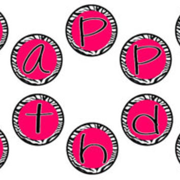 "Hot Pink and Zebra Print Happy Birthday Party Banner! Matches my Hello Kitty Birthday Party Set - 5"" circles - INSTANT DOWNLOAD! Printable"