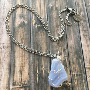 Blue Chalcedony Pendant Necklace Chalcedony Necklace Wire Wrapped Blue Gemstone Necklace Chalcedony Pendant Necklace  (N114)