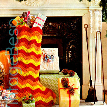 Christmas STOCKING 1970s Vintage CROCHET Pattern is stylish + done completely w the 3 simpliest stiches Instant Download Pdf zigzag chevron