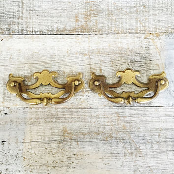 Drawer Handles 2 Drawer Pulls Chippendale Handles Antique Hardware Brass Handles Dresser Hardware Salvaged Hardware Decorative Handles