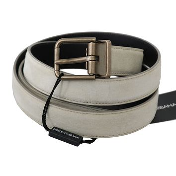 Dolce & Gabbana White Leather Brushed Gold Buckle Belt