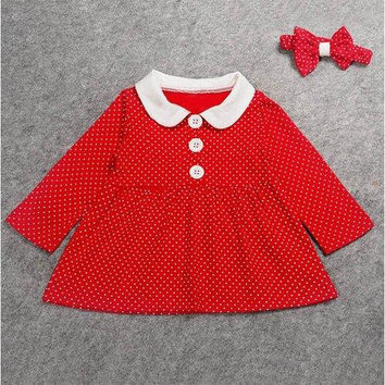 Cute Peter Pan Collar Long Sleeve Polka Dot Girl's Dress