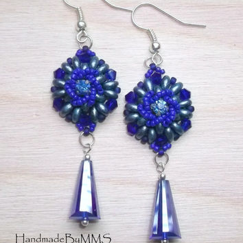 Beaded earrings with Super duo and Swarovski crystal 2.5'', Statement earrings, Earrings for her, Beadwork, Gift for her, Statement jewelry