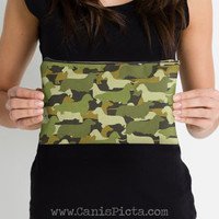 Dachshund Camo Studio Pouch Accessory Bag Clutch Camouflage Army Green Brown Cream Moss Weenie Dog Doxie Wire Long Smooth Coat Silhouette
