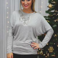 Talking Point Top - Heather Grey