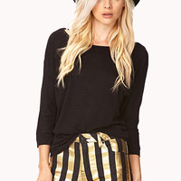 FOREVER 21 Standout Metallic Striped Shorts Black/Gold