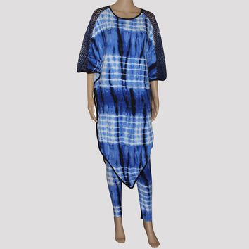 Tilapia african ankara style fashion batwing women's set big size super stretch mama dress set bazin riche two pieces women set