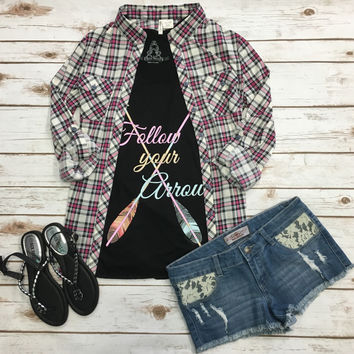 Penny Plaid Flannel Top: Pink