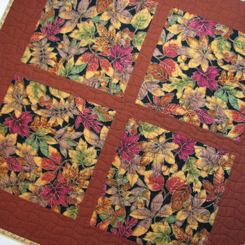 Quilted Square Table Topper--Scattered Autumn Leaves