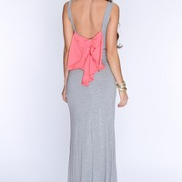 Grey Coral Bow Accent Sexy Maxi Dress