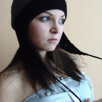 10% discount with coupon code SLAVENA Black and Grey Gray Cozy Hat Slouchy Beanie Rasta Barrette Aviator Ear Flap Crochet
