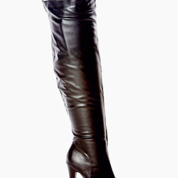 Nelly-17 Buckle Strap Platform Thigh High Boot Black Leatherette