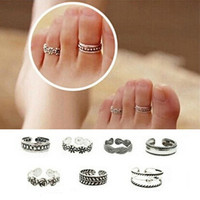 Chic Fashion Women Antique Foot Beach Silver Metal Adjustable Toe Ring New (With Thanksgiving&Christmas Gift Box)= 1706377860