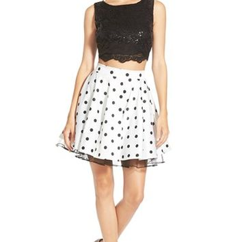 Junior Women's Way-In Polka Dot Two-Piece Dress,