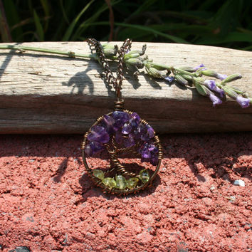 Amethyst Tree Of Life Necklace Peridot Roots Pendant On Brown Chain Wire Wrapped Wedding Jewelry February August Birthstone Jewelry
