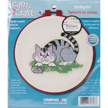 """Learn-A-Craft A Cat And A Mouse Needlepoint Kit 6""""X6"""" Stitched In Wool & Yarn"""