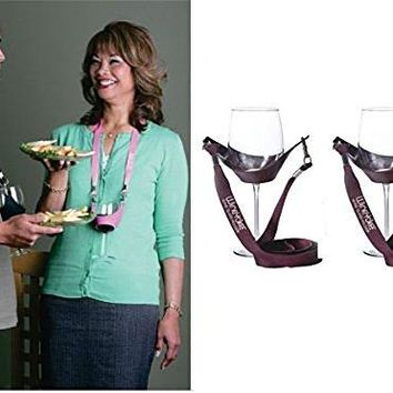 WineYoke Party Time Hand Free Wine Glass Holder Necklace  Set of 2 Black amp Black