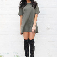 Oversize Boyfriend Jersey Tshirt Dress in Khaki