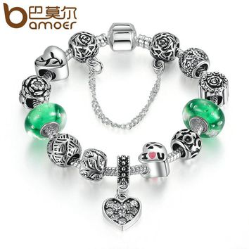 BAMOER Silver Color Green Glass Beads Safety Chain Snake Clasp Heart Pendant Charms Bracelet Women Ethnic Jewelry PA1899