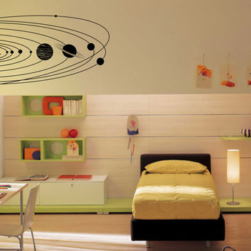 Large Solar System with planets and orbits wall decal - removable vinyl wall art for kids room, playroom and nursery astronomy decor