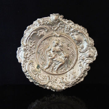 Repousse Victorian Figural Plate Woman & Child Antique Metalware
