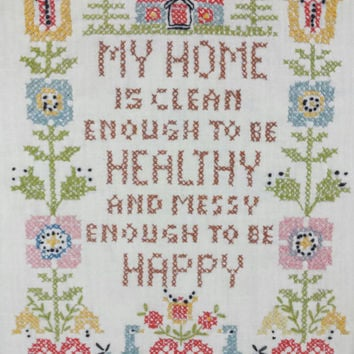 Vintage Framed Cross Stitch, Clean Home, Messy Happy, Gallery Wall Art, Needlepoint, Embroidery, Farmhouse, Sampler, Shabby Cottage Chic