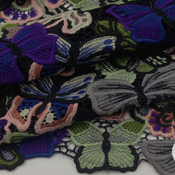 Unique Colorful butterfly hollow out cotton heavy lace fabric for Prom Dress, Skirt,Wedding Gown,Formal dress