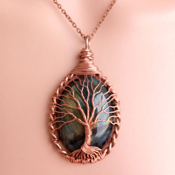 TREE Of LIFE Copper Wire Wrapped Tigers Eye Stone Pendant Necklace Tiger Eye Copper Patina Tiger Eye