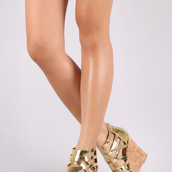 Qupid Shiny Metallic Strappy Caged Open Toe Cork Platform Wedge