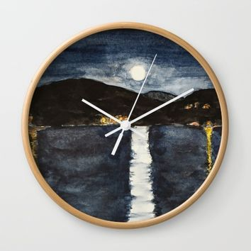 full moon by the sea Wall Clock by Colorful Nature