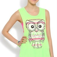 Neon Owl Tank Top with Twist Open Back