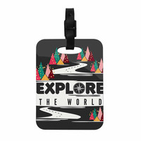 "Famenxt ""Explore the World"" Black White Decorative Luggage Tag"