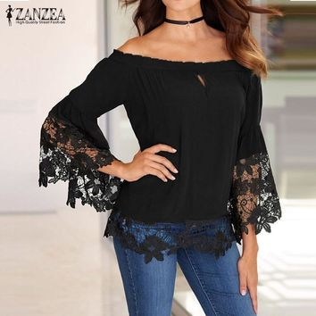 SHIRT Off Shoulder Shirts Women Blouses Sexy Slash Neck Flare Sleeve Patchwork Lace Crochet Blusas Casual Tops