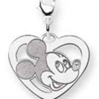 Sterling Silver Mickey Mouse Heart Charm w/Lobster Clasp: Personalized Boutique, Inc.