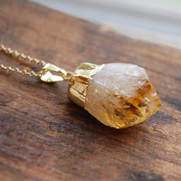 Gold Dipped Raw Citrine Nugget Necklace with 18k Gold plated Chain